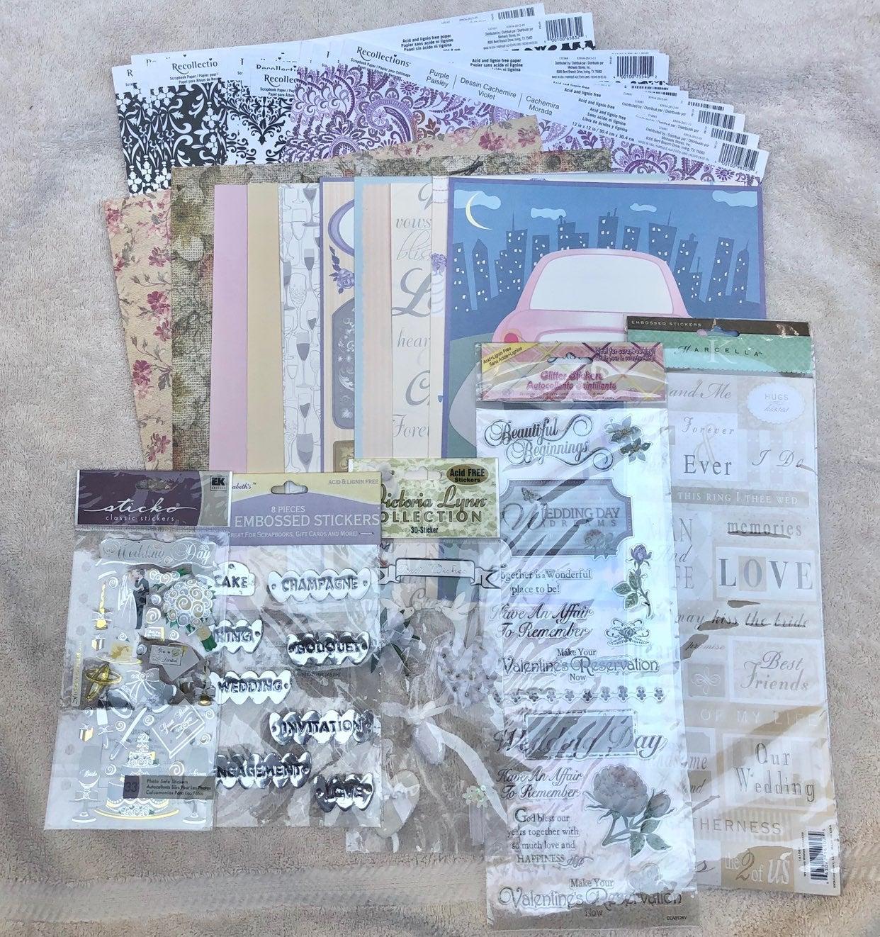 Wedding Scrapbook Paper & Stickers Lot