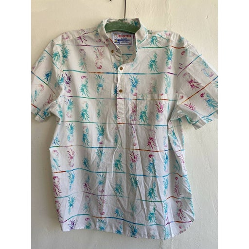 Chubbies The Nutter Mens Camp Shirt Pineapple Watercolor 1/4 Button