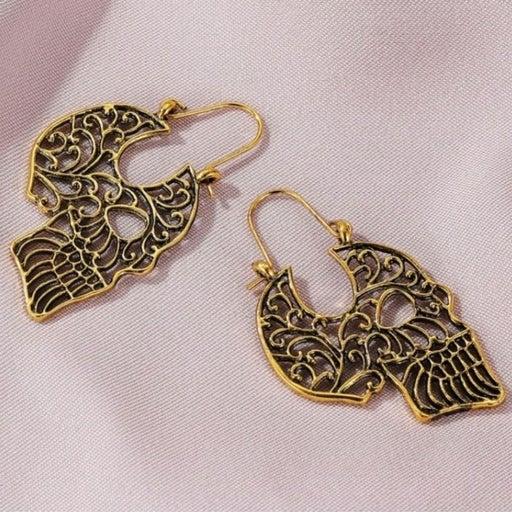NEW gold Skelton halloween earrings