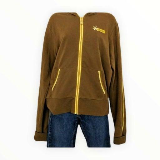 Cruel Girl Womens Juniors Large Hoodie Sweatshirt Brown Yellow Full Zip