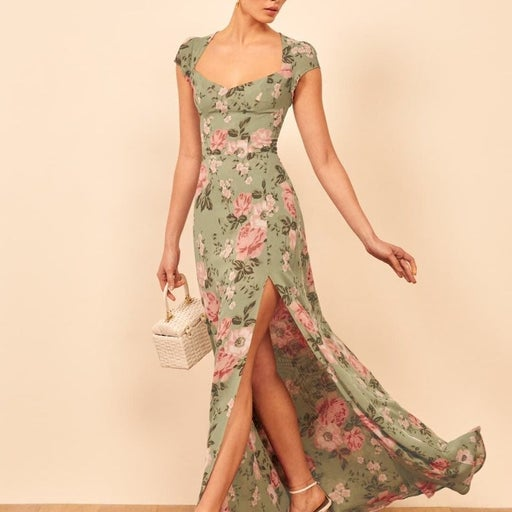 Reformation Amaryllis Sage Green Floral Dress