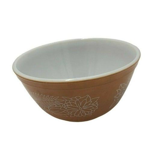 Pyrex Glass Mixing Bowl Vintage Woodland Tan/Beige White 1 1/2 Quart 1.5