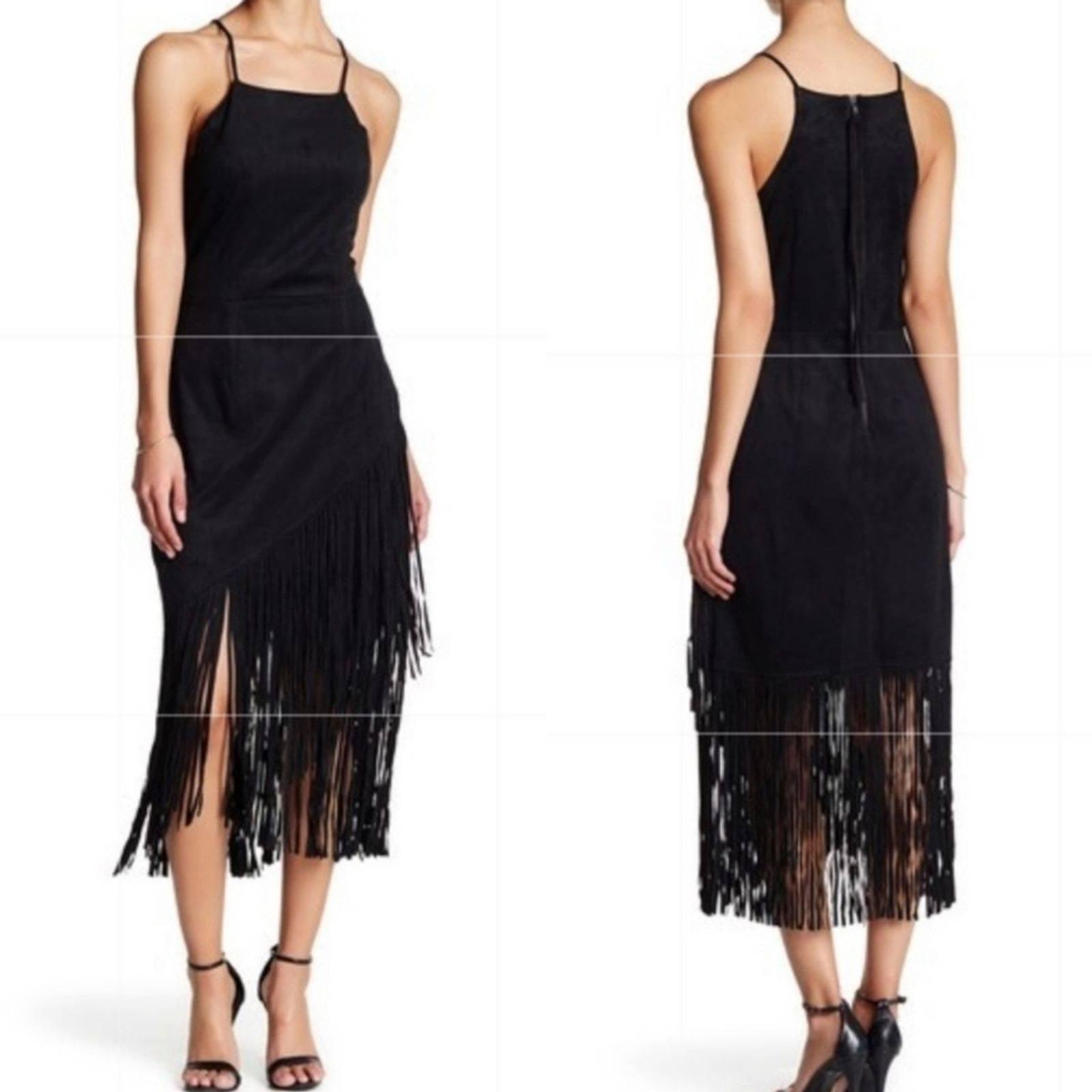 Alexia Admor Black Fringe Tassel Dress