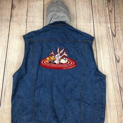 Vintage looney tunes jean jacket vest lg