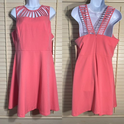 Boston Proper Strappy Fit and Flare Pink Dress