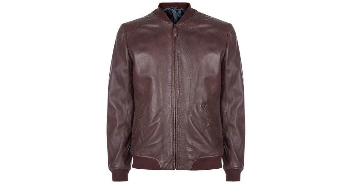 Ted Baker Ovid Leather Bomber Jacket