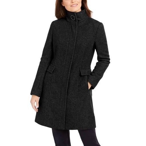 CALVIN KLEIN Black Stand-Collar Walker Coat SZ XS