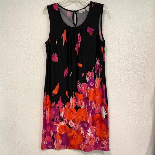 Kim Rogers Sleeveless Shift Dress Black Floral Keyhole Back Stretch EUC Sz Large