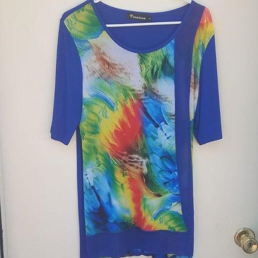 Creation medium blue rainbow tunic shirt