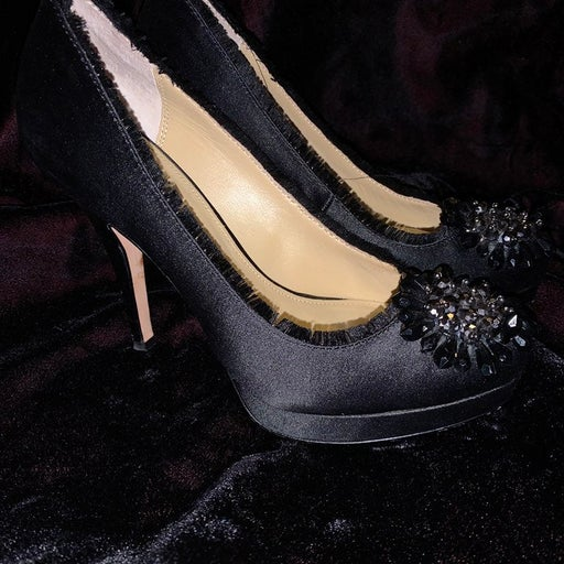 Coach Black Bergen satin shoes with braided flower size 6