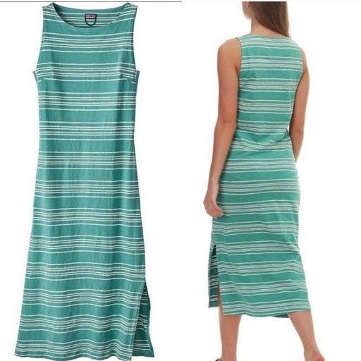 Patagonia Green Striped Tank Dress