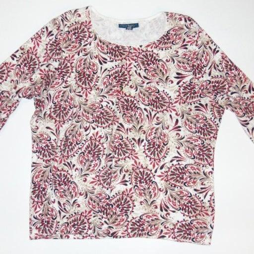 Karen Scott Women's Long Sleeve Top Shirt 2X Cotton Floral White Red