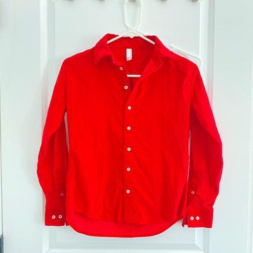 American Apparel RED CORDEROY SHIRT XS
