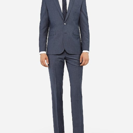 Extra Slim Blue Stretch Wool Suit Pant