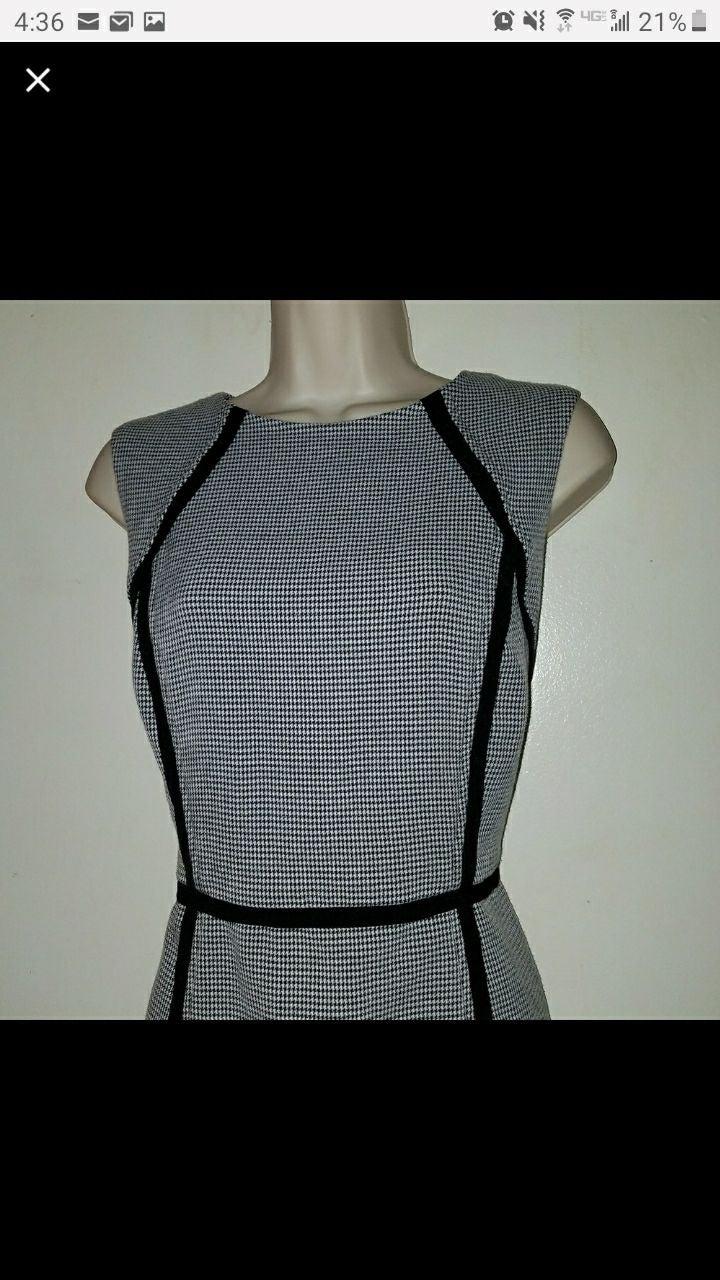 Houndstooth Black White Womens 6 Dress
