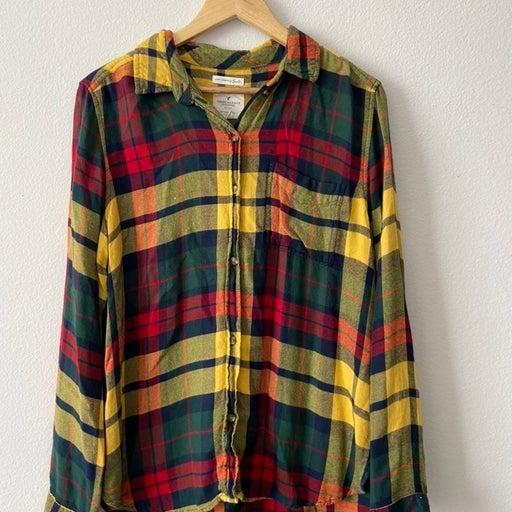 American Eagle Flannel Button Down Plaid Shirt