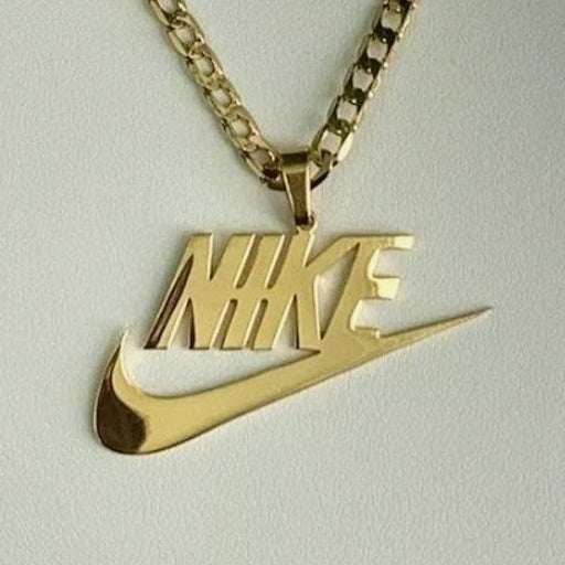 Gold Stainless Steel Nike Swoosh Necklac