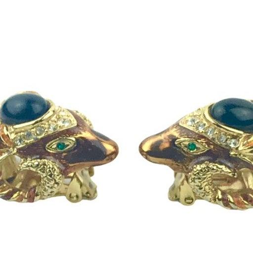 Vintage Gold Tone Ram Head Earrings