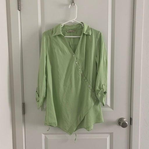 Soft Surroundings Green Blouse Top