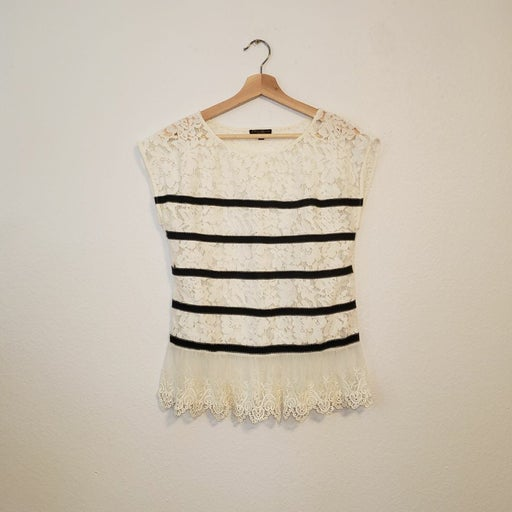 Alberto Makali Floral Lace Striped Top