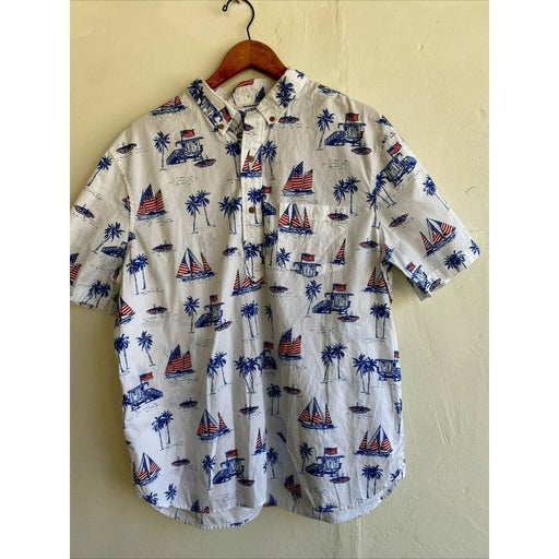 Chubbies The Nutter Men's Camp Shirt XXL Red White Blue Palm Trees Surf Board