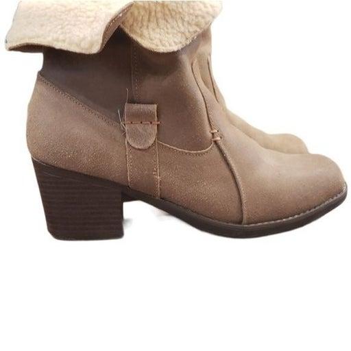 Eddie Bauer Tan Heels Suede Ankle Boots Size 8.5