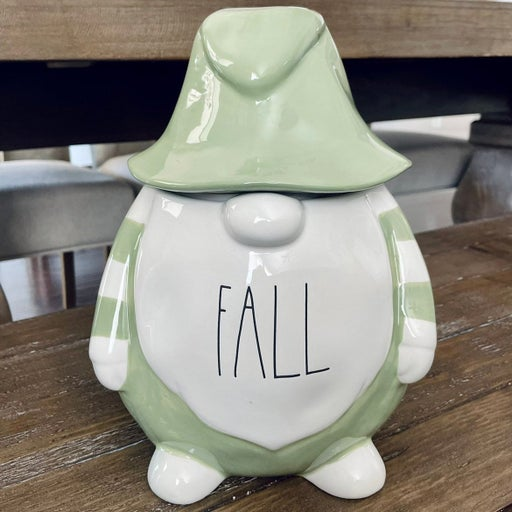 Rae Dunn FALL Gnome Canister w/ Hat Lid Complete Set Green White Stripes Gift