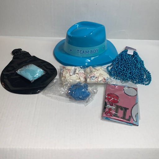 boy gender reveal party hats balloons be