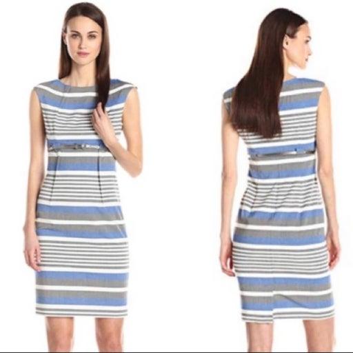 Calvin Klein Blue Stripe Sheath Dress 4