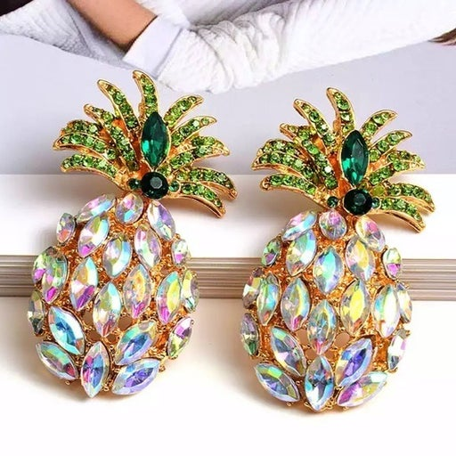 Iridescent pineapple earrings shiny gold pink