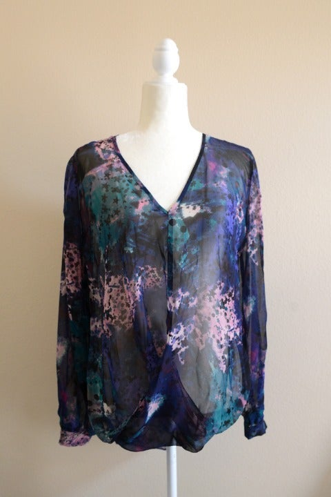 BISOU BISOU Abstract Purple Black Top M