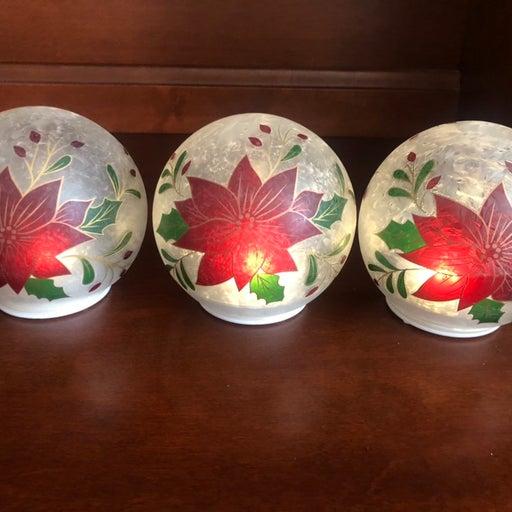 "Valerie Parr Hill Set of 3 5"" Poinsettia Glass Spheres"