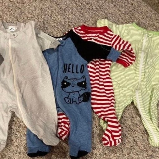 4 Baby Boy Footed Sleepers 0-3 month 16B