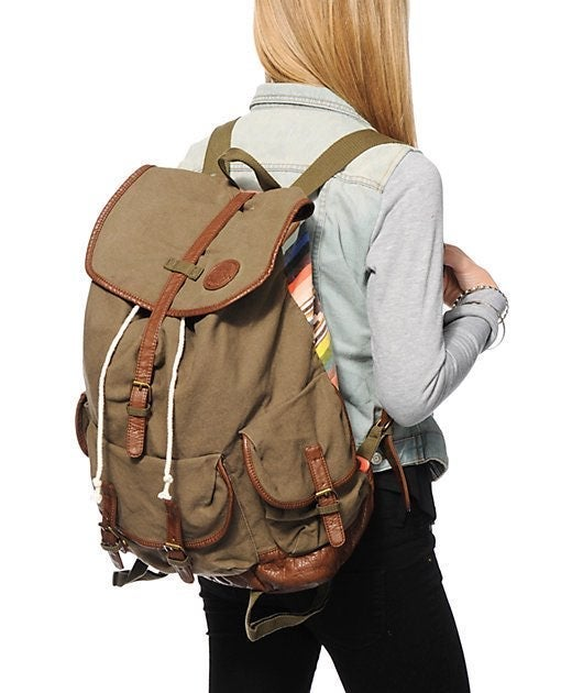 Billabong Olive Canvas Backpack