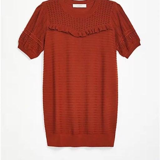 Loft Short Sleeve Ruffle Maternity Sweater