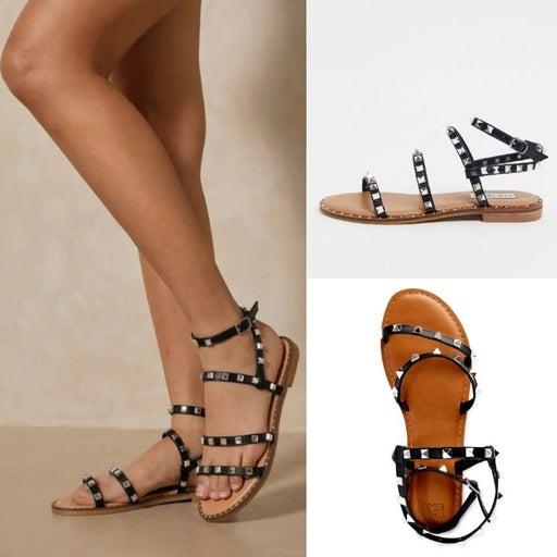 Studded Gladiator Sandals - 8