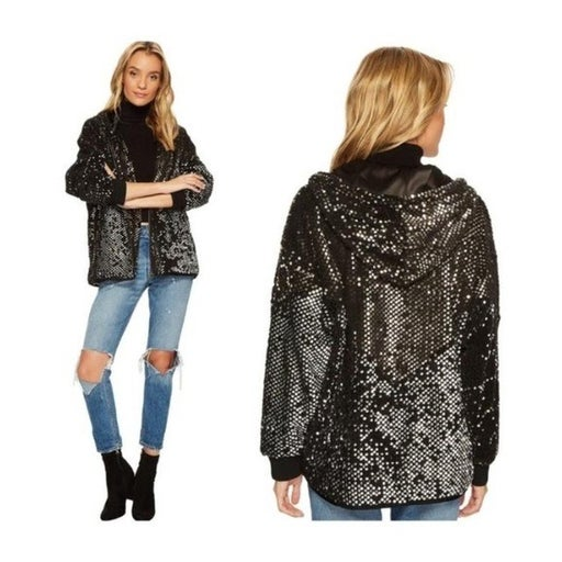 BlankNYC Black Silver Sequined Jacket Oversized XS