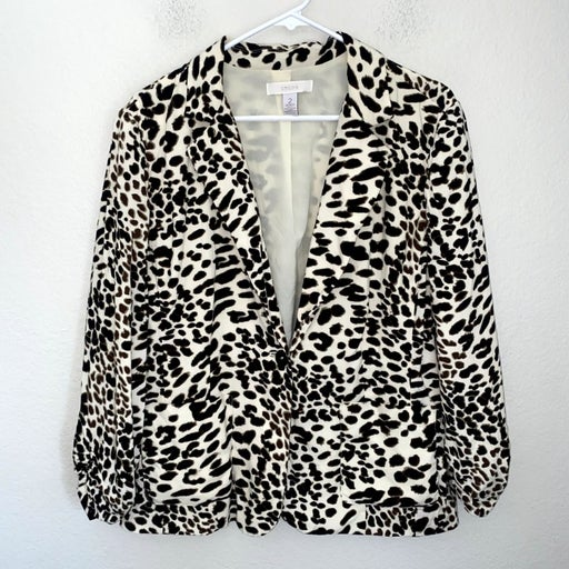 Chico's Dotted Animal Print Long Sleeve Button Front Blazer Career Sz 2 L