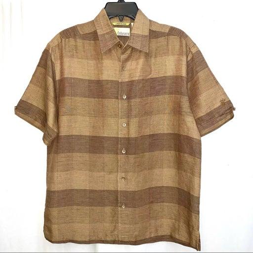 Cubavera Linen Blend Men's Button Up Shirt Size M