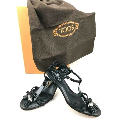 TOD'S Black Patent Leather Sandal with B