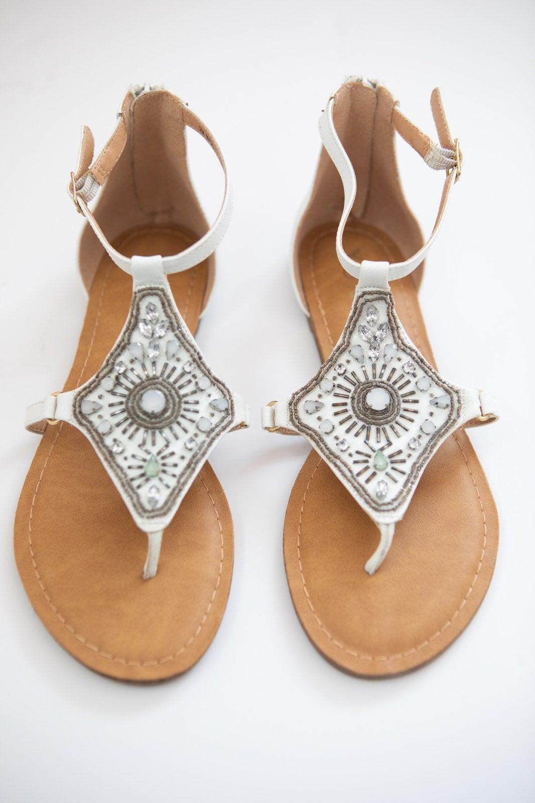 Xoxo Beaded Sandals NWOT