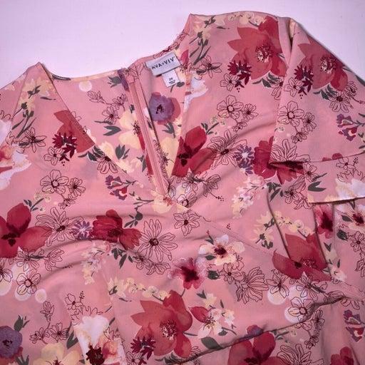 Ava & Viv Pink Floral Short Sleeve Back Zip Womens Plus Size 2X Dress W/ Pockets