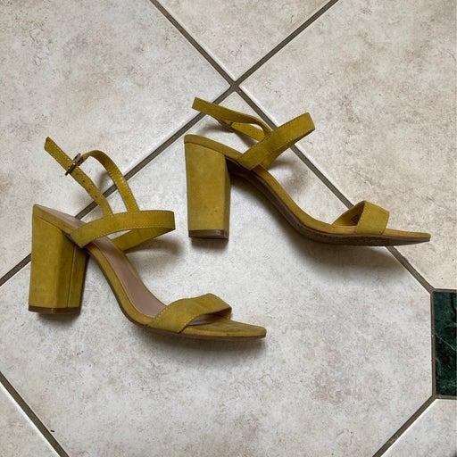 BP. Mustard Heels ankle strip nearnude size 7