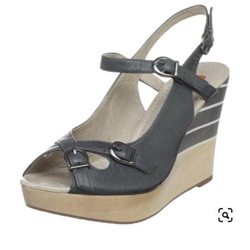 NWOT Miz Mooz Khloe Gray Leather Wedge