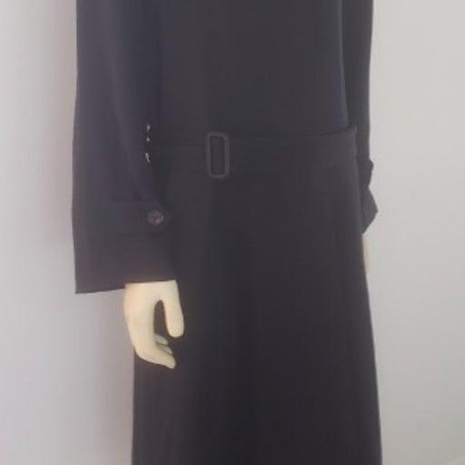 Paul Stuart luxury coat 10 black trench wool