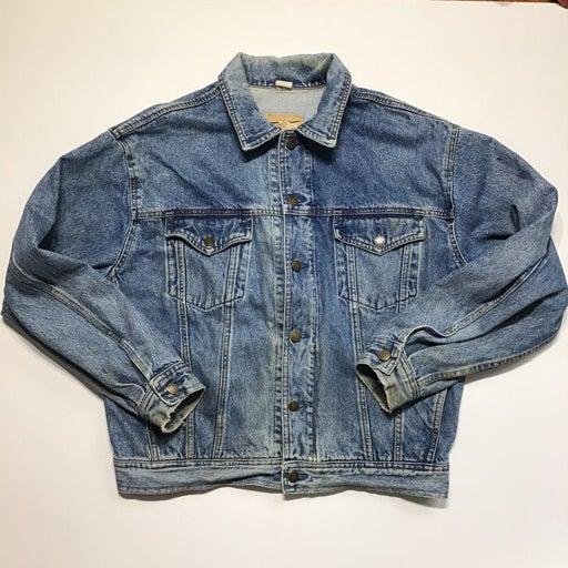 Vintage 90s Denim Jean Trucker Jacket Thrashed Stained Men's Small Gap