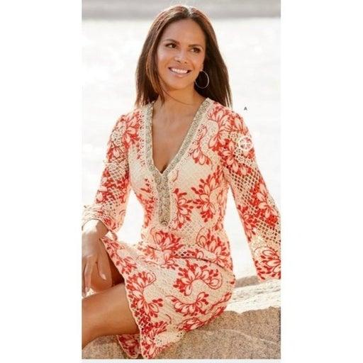 NEW Boston Proper Embellished Crochet Tunic Dress Size Small Orange White