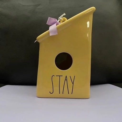 "Rae Dunn Yellow ""STAY"" Birdhouse"