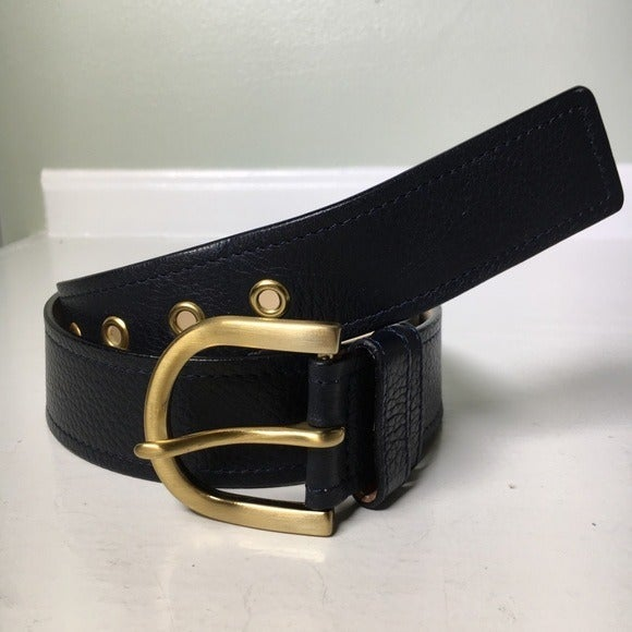 Talbots Contour Navy Blue Leather Belt