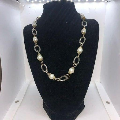 Premier Designs Faux Pearl Gold Tone & Silver Tone Chain Necklace